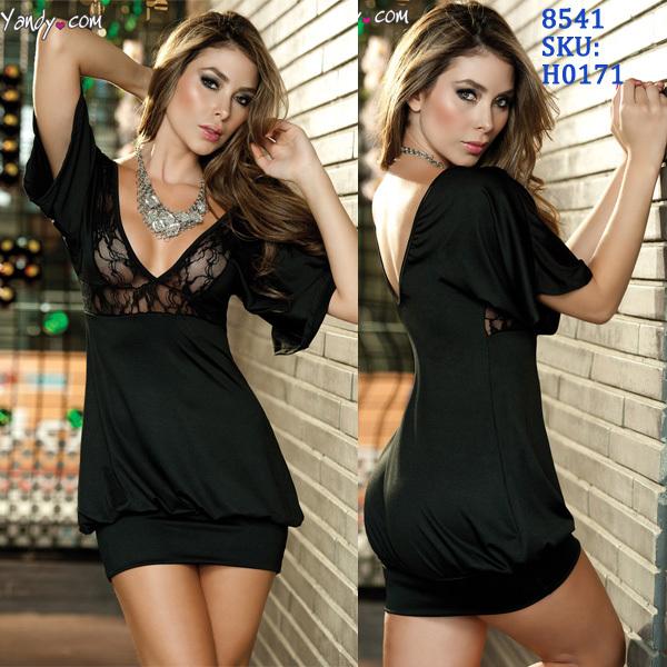 Freeshipping 2013 New Fashion Women Sexy Black V Neck Clubwear Mini Dress Summer Lace Casual Dress 8541 | Amazing Shoes UK