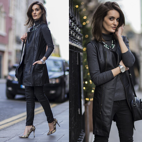 Leather Gilet Wrap Jacket | Choies