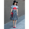 Check and pleats belted midi skirt