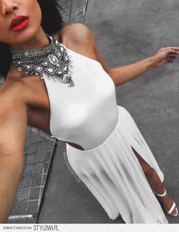 Dress White White Shoes Necklace Pumps Sandal Heels Silver Cut Out Maxi Dress Jewels