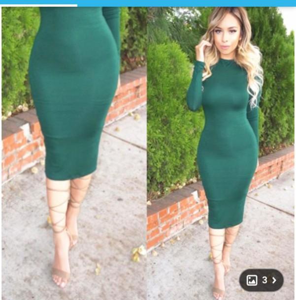 6a5ea0520e9d dress this exact color green dress green bodycon bodycon dress long sleeve  dress long sleeves midi