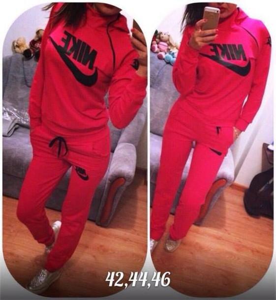 jumpsuit nike tracksuit neon pink hoodie pants sportswear swag sweater hot jumper
