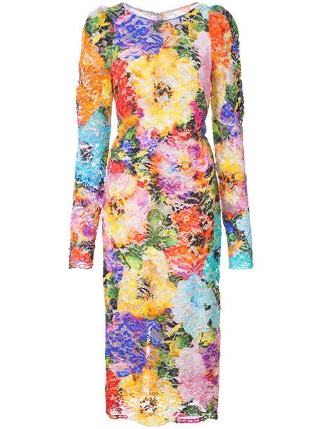 Monique Lhuillier dress lace dress women spandex lace floral silk
