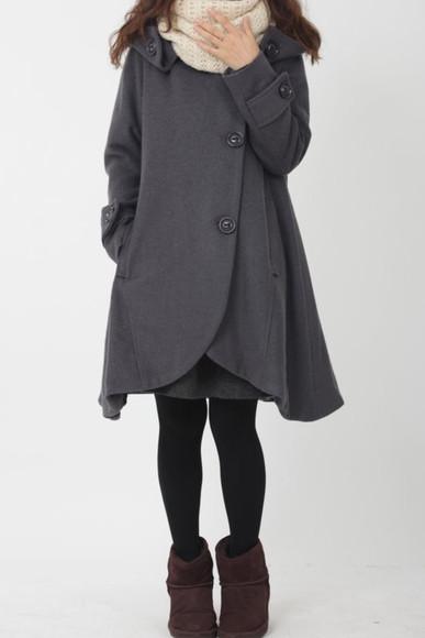 cape coat grey hooded