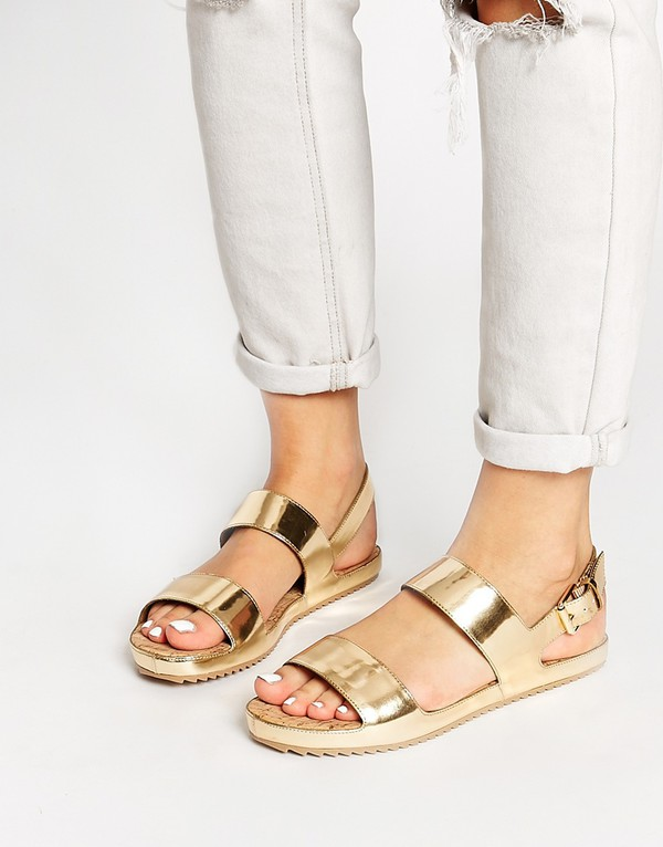 Shoes Gold Sandals Cute Straps Thick Sole Metallic