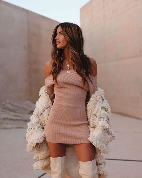 dress nude nude dress off the shoulder off the shoulder dress rocky barnes instagram blogger boots over the knee boots mini dress cardigan shoes necklace