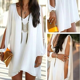 white dress summer dress cut-out blouse jelwery shift dress cotton loose bag