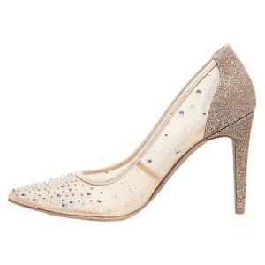 Women's Nude Lace Rhinestone Stiletto Heel Pumps Bridal Heels