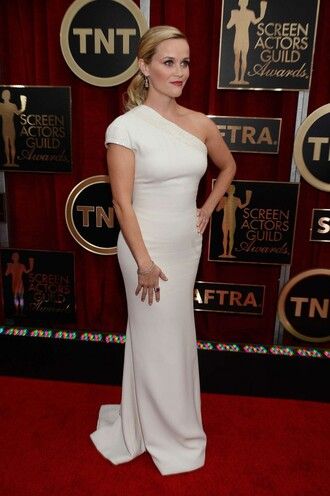 dress gown reese witherspoon white dress one shoulder prom dress sag awards