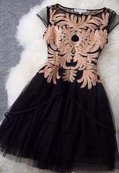 dress,black and gold dress,ornament,gold ornament,black,gold
