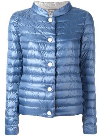 jacket high women high neck blue