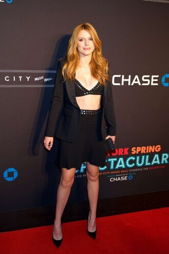 skirt top bella thorne pumps jacket all black everything