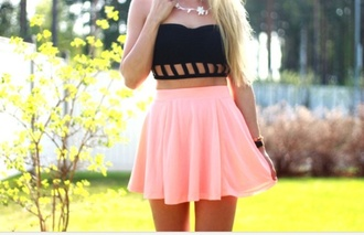 shirt skirt top tank top strapless crop tops black holes pink skirt pink flowy tumblr tumblr skirt pastel cute pastel skirt skater skirt spring outfits weheartit