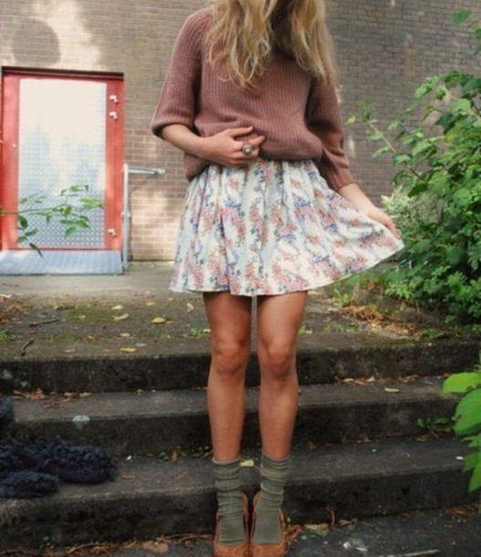 skirt sweater pink fall outfits fall sweater fall colors