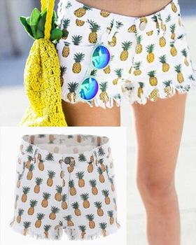 women Cotton Denim Print shorts new 2014 White summer Autumn European Style Female Retro Pineapple Fruit Hot Pants Mini Bottoms-in Shorts from Apparel & Accessories on Aliexpress.com
