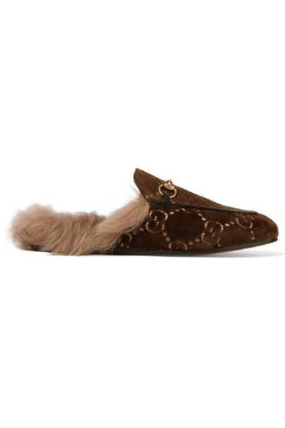 gucci jacquard slippers velvet brown shoes