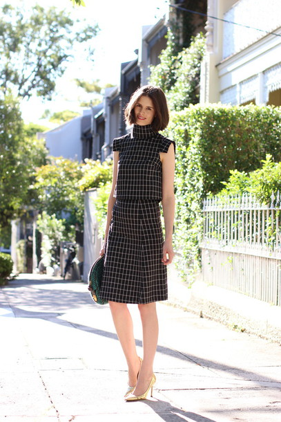 by chill blogger two-piece checkered bag top skirt shoes