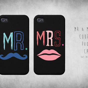 Cute Matching Mr & Mrs Couple iphone 4 4S / 5 Case Set on Wanelo