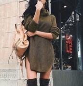 bag,dress,shoes,sweater dress,turtleneck,knitted dress,turtleneck dress,sweater,turtleneck sweater,khaki,green,dark,dark green,dusty,dusty green,knit,knitwear,knitted sweater,fall outfits,kakis,girl,summer,tumblr,instagram,olive green,sweater weather,sweatshirt dress