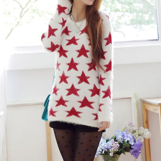 sweater sweet cute red star