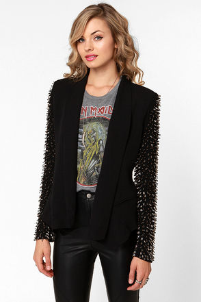 Fancy Black Blazer - Beaded Blazer - Open Blazer - $111.00