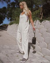 shoes,espadrilles,checkered,checkered shoes,overalls,white overall,bag,black bag,sunglasses