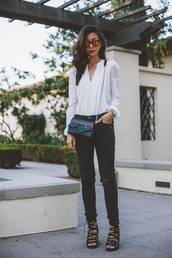 honey n silk,blogger,top,blouse,jeans,shoes,bag,sunglasses,jewels