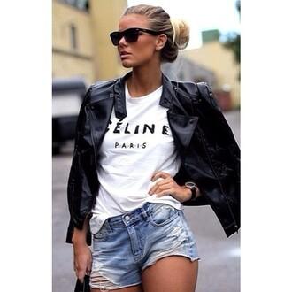 t-shirt celine paris white t-shirt hipster