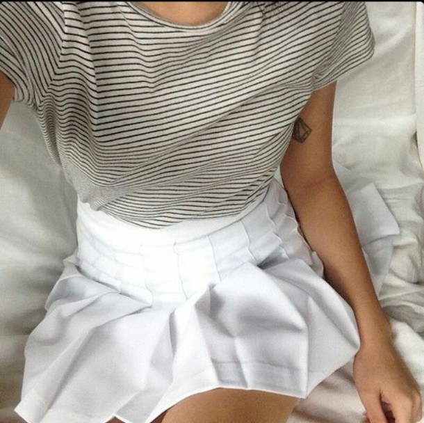 t-shirt shirt stripes black white skirt