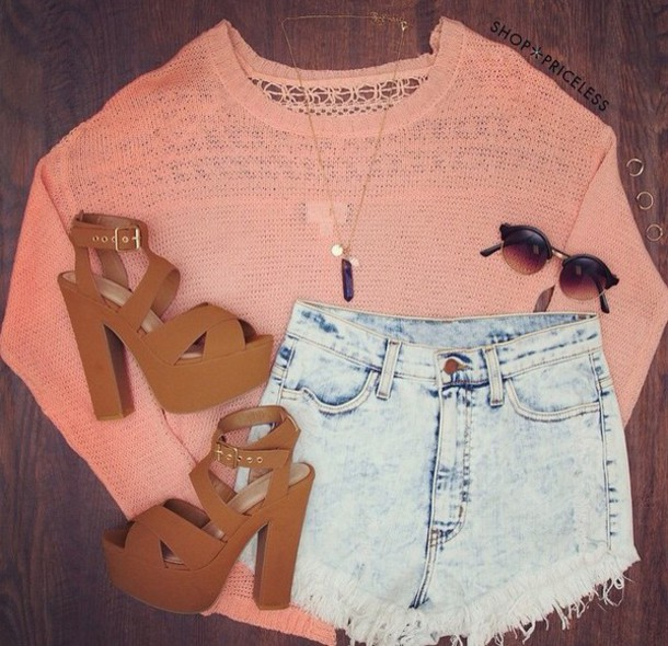 sweater coral High waisted shorts acid wash jeans shoes outfit spring outfits