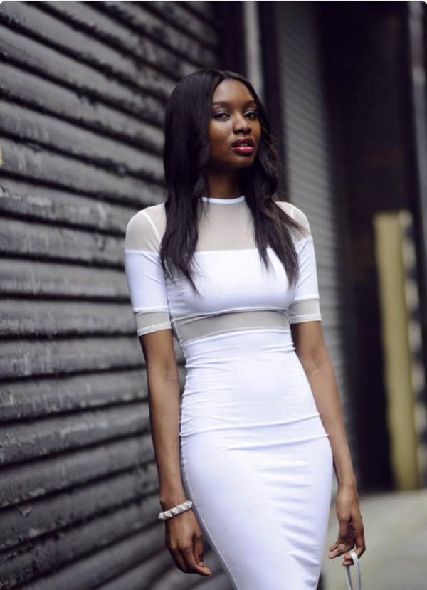 dress white mesh dress