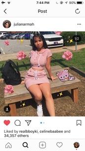 dress,match,pink,stripes,skirt,mini skirt,crop tops,grey crop hoodie,cute,fashion,casual,short,two piece dress set,pink dress,white,adidas,high waisted
