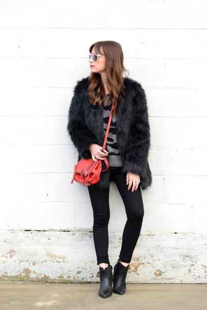 m loves m blogger jacket fluffy faux fur red bag grey sweater black fur coat