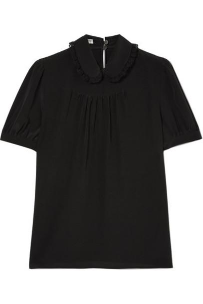 Miu Miu blouse lace black silk top