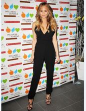 jumpsuit,black,all black everything,chrissy teigen,sandals,pants,shoes