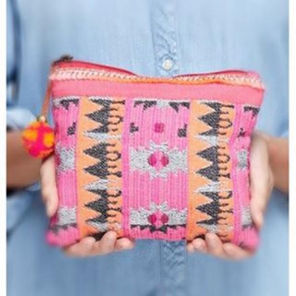 Bag Cosmetic Bag Tribal Pattern Boho Bohemian Trendy Bohemian