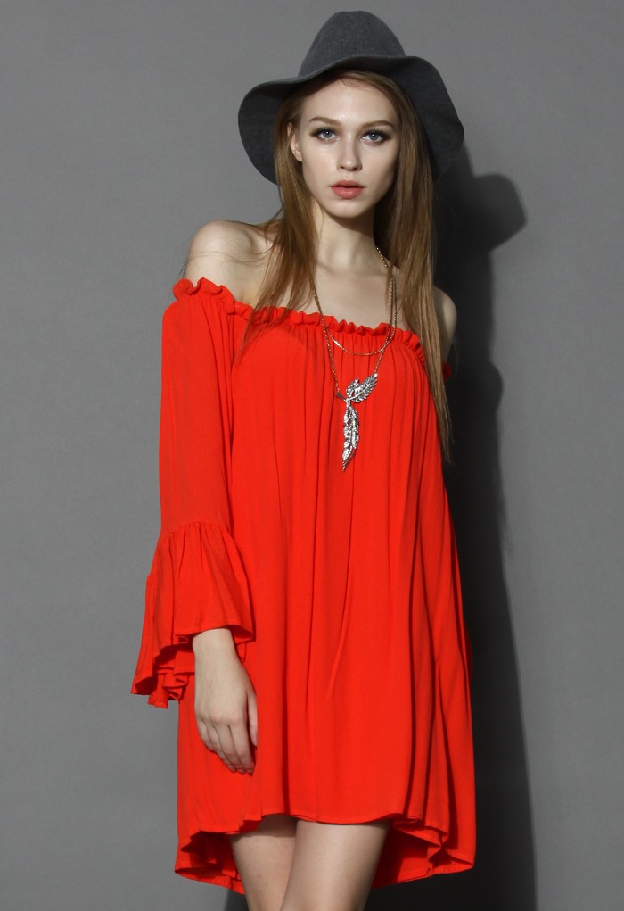 Splendor Red Off-shoulder Crepe Dress - Retro, Indie and Unique Fashion