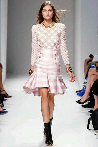 skirt pink skirt tartan skirt pleated skirt summer skirt