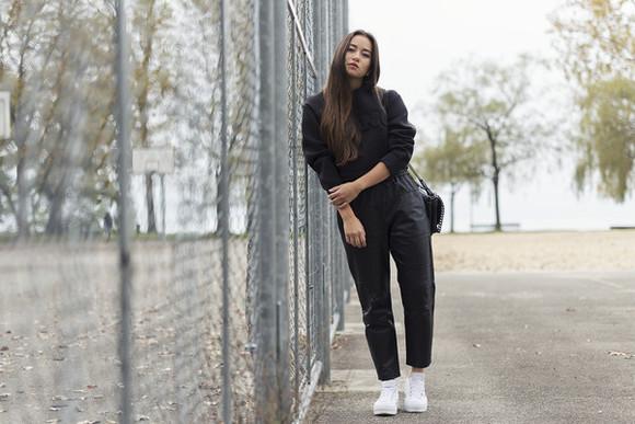 alexander wang blaastyle blogger harem pants leather pants jumper