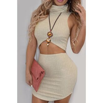 dress beige nude fashion turtleneck women's fashionable solid color crop top + high waist skirt suit sexy party summer rose wholesale-jan