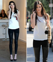 pants,clothes,kendall jenner,jeggings,leather,black,white,celebrity
