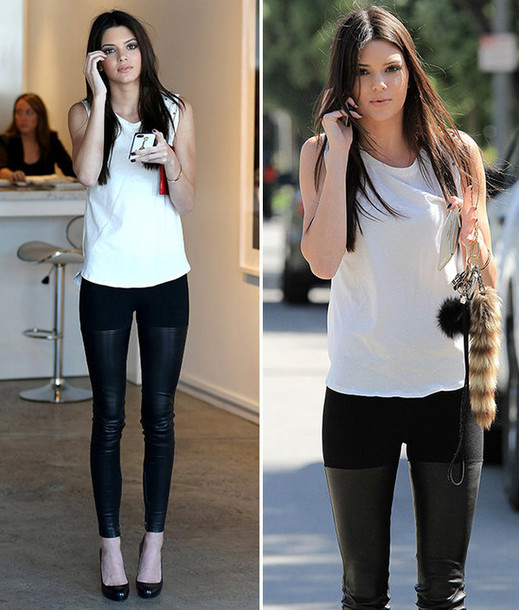 pants clothes kendall jenner jeggings leather black white celebrity