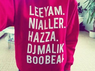 sweater one direction cute zayn malik liam payne harry styles louis tomlinson niall horan pink noraasolstad.blogg.no
