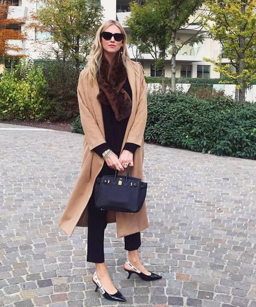 coat tumblr camel camel coat long coat camel long coat pants black pants bag black bag sunglasses