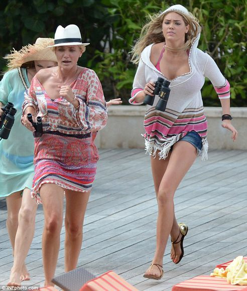print dress cameron diaz the other woman kate upton tunic sweater