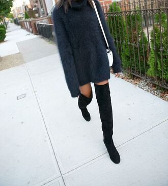 sweater fluffy fuzzy sweater turtleneck turtle neck sweater vintage blue shoes boots knee high knee high boots tall boots mohair sweater angora sweater angora mohair blogger tumblr suede boots black grey sweater charcoal oversized sweater baggy jumper wooly jumper wooly sweater black suede dark dress black dress jeans