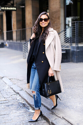 with love from kat blogger sunglasses nude coat fendi bag black heels