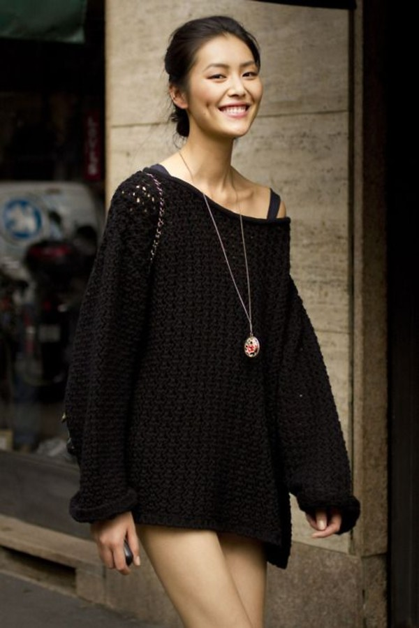 Dress: sweater, black, knitted sweater, sweater dress, mini dress ...