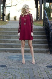 life with emily,blogger,dress,burgundy,lace dress,holiday dress,sandals,shoes,jewels