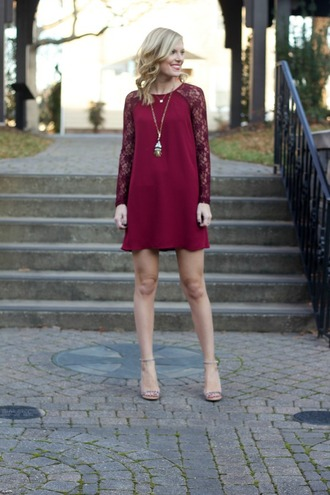 life with emily blogger dress burgundy lace dress holiday dress sandals shoes jewels